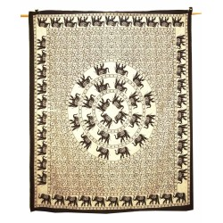 Indian Cotton Off White Black  Bohemein Tapestry,Wall Decor,Wall hanging Tapestry,Wall Decor,Docorative.