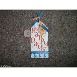 'HAPPY DAYS'  Wooden Tag Shape Hanging Plaque