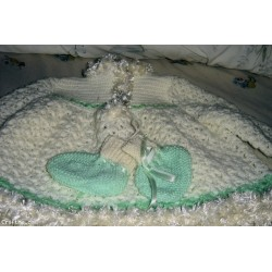 Brand new hand-made crochet acrylic white and green pistachio baby girl's dress & booties