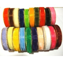 20 Rolls Mixed Colours Gold Edge 12mm / 1/2 Wide Organza Ribbons - Trim (Free Shipping )