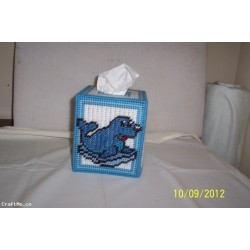 Plastic Canvas Blue Seal Tissue Box Cover